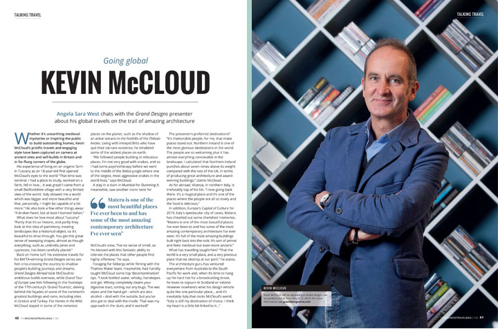 Interview with Kevin McCloud about his global travels on the trail of amazing architecture in The Business Travel Magazine